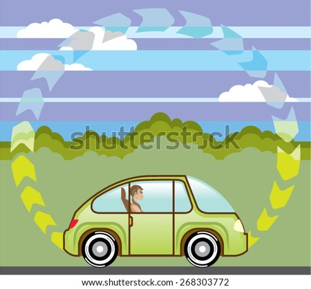 Ecological Green car self-driving abiding speed limit - stock vector