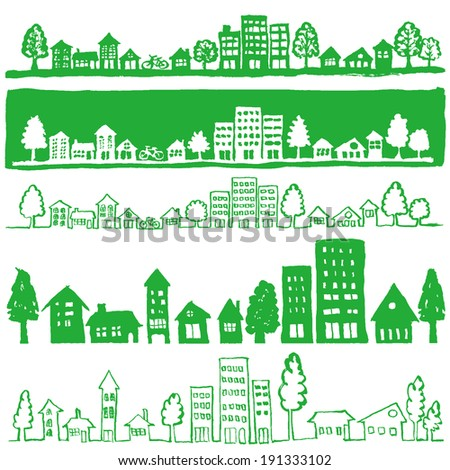 ecological green towns.handwritten Illustrations. - stock vector
