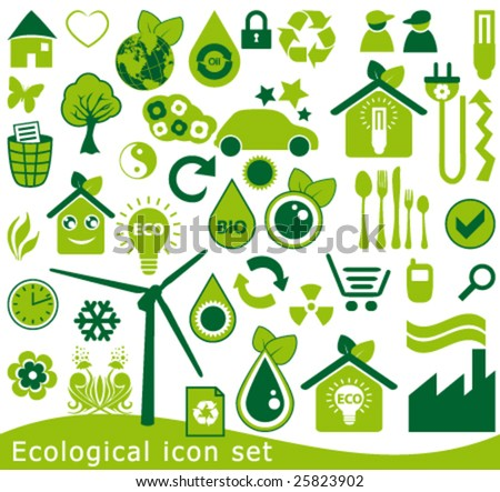 Ecological icon set. 42 green vector symbols for the environmental protection. - stock vector