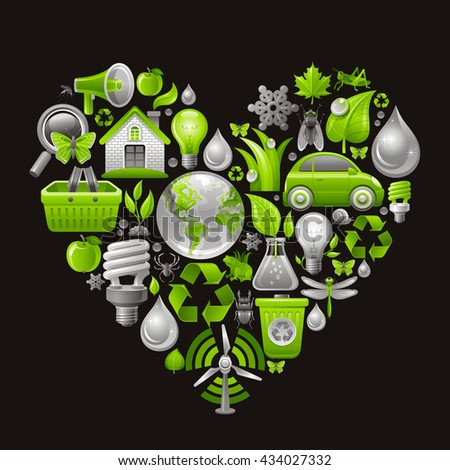 Ecological icon set in green color with concept icons in heart on black background - stock vector
