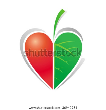 ecological icon with heart and leaf which symbolizes love to nature