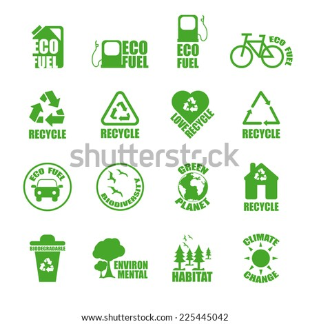Ecological Icons set. Green vector set.