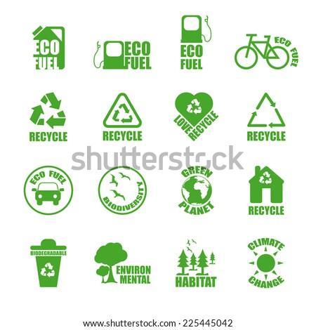 Ecological Icons set. Green vector set. - stock vector