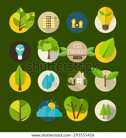Ecological Icons. Vector illustration. - stock vector