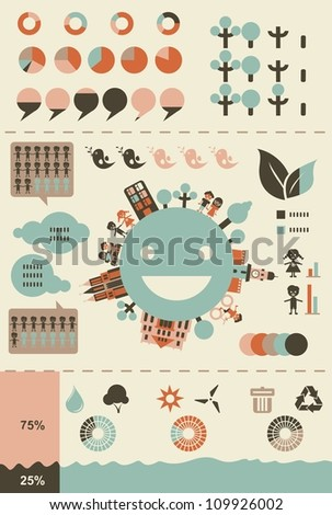 ecological infographics and charts in retro colours in vector - stock vector