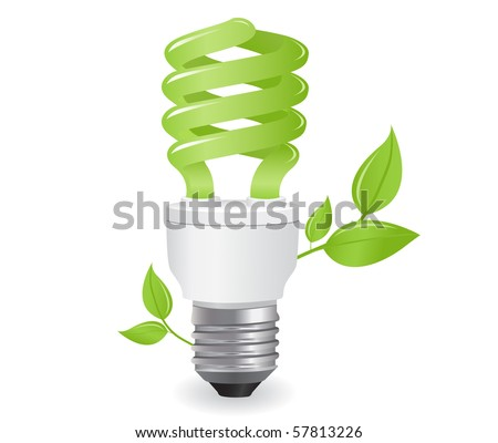 ecological lightbulb icon in vector format - stock vector