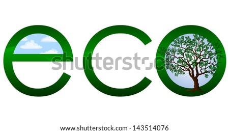 Ecological logo or emblem - vector illustration - stock vector