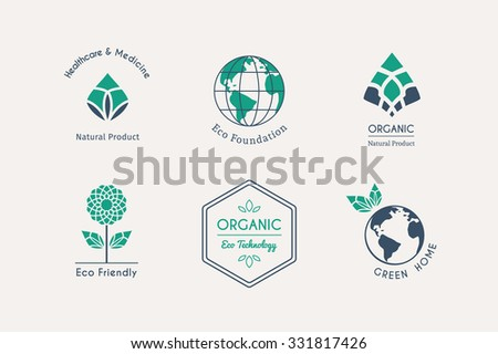Ecological logo templates. Vector emblems for eco foundations, organic products, natural food and medicine, green technology - stock vector