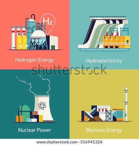 Ecological low and zero emission renewable electricity power energy generation devices | Web backgrounds and icons on green power sources such as wind turbines, solar panels, tidal and wave energy  - stock vector