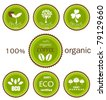 Ecological organic various  icons, labels or logo in green and brown colors for food products. Vector design - stock photo