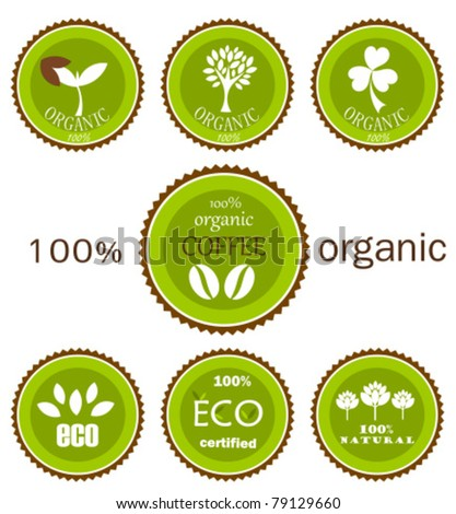 Ecological organic various  icons, labels or logo in green and brown colors for food products. Vector design - stock vector