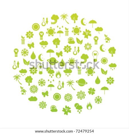 ecological planet made of icons - stock vector