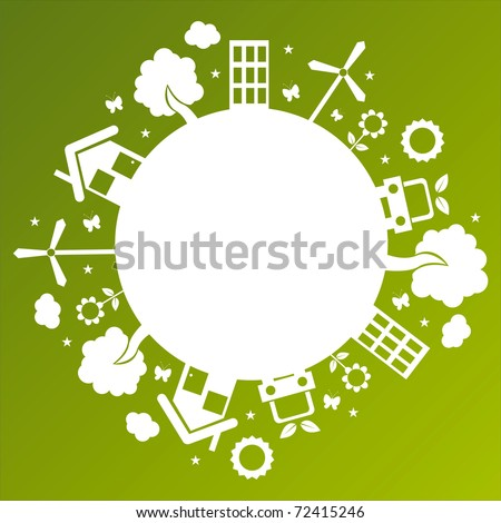 ecological planet over green background - stock vector