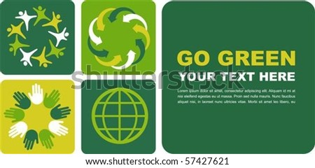 Ecological poster with green globe motive - stock vector