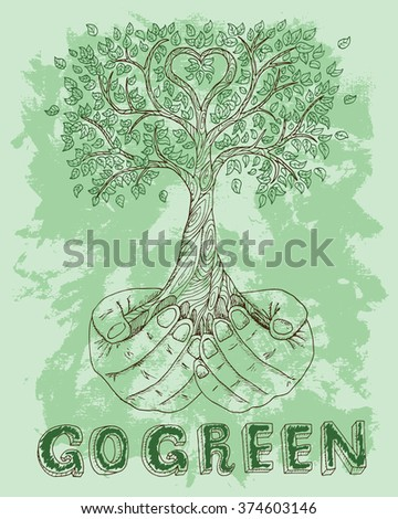 Ecological poster with human hands holding tree on green textured background. Hand drawn line art bio symbol and illustration, green world concept, environment protection theme - stock vector