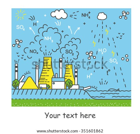 Ecological problem or environmental problem on Earth. Factory and Nature. Line art vector illustration. Water cycle. - stock vector