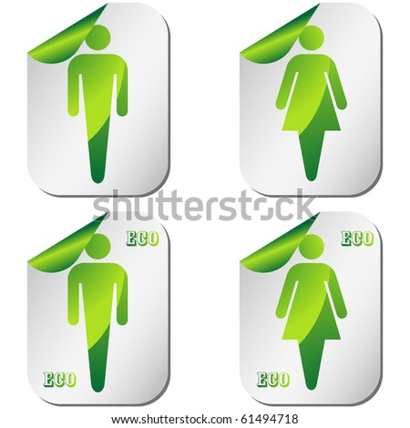 Ecological restroom sign set on pealing paper vector - stock vector