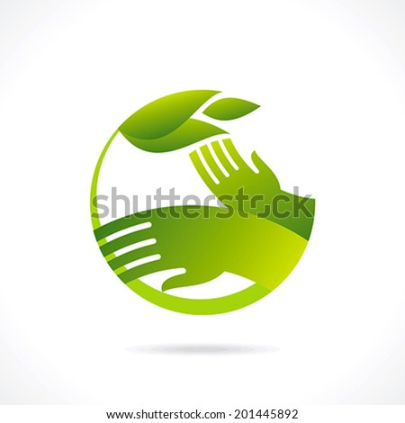 ecological symbols and signs,human's hands and green growing plants - stock vector