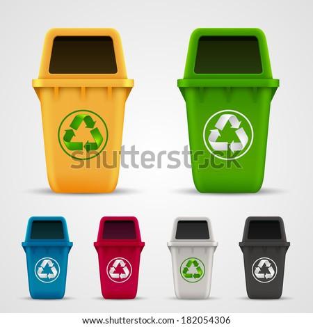 Ecological trash set. Trash color collection, Trash plastic object, Vector illustration - stock vector