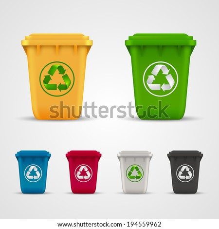 Ecological trash set, Trash icons color Vector illustration - stock vector
