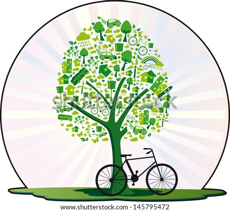 Ecological tree. Tree containing several elements for a living environmentally friendly and even a bicycle. - stock vector