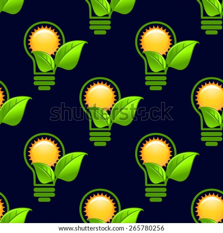 Ecology abstract seamless pattern of the sun inside green light bulb with green leaves on dark blue background for energy saving or eco friendly concept design - stock vector