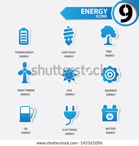 Ecology and Energy blue version icons,vector - stock vector