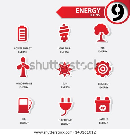 Ecology and Energy red version icons,vector - stock vector