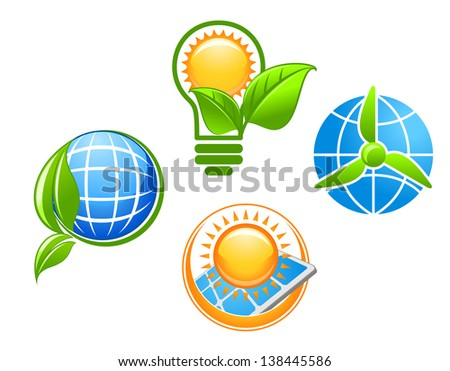 Ecology and environment icons set for ecological concept design or logo template. Jpeg (bitmap) version also available in gallery - stock vector