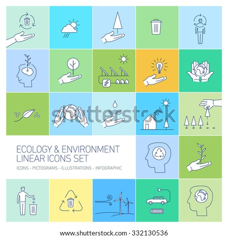 ecology and environment icons set on colorful background