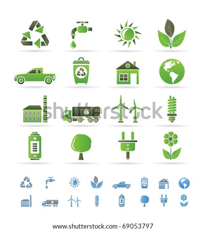 ecology and environment icons - vector icon set - stock vector