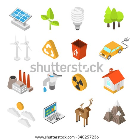 Ecology and environment protection conservation icon set with wind turbines solar panels isolated vector illustration - stock vector