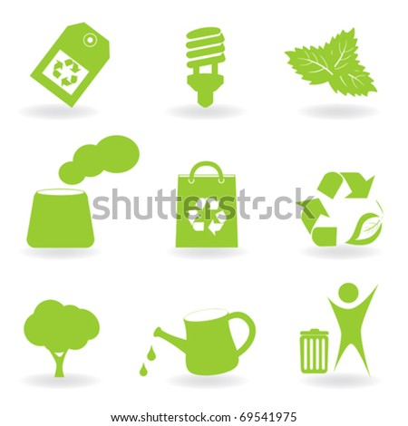 Ecology and environment related icon set - stock vector