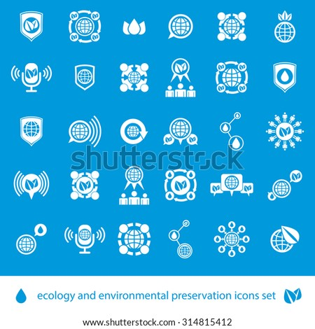 Ecology and environmental conservation vector icons set, unusual stylish symbols set. - stock vector