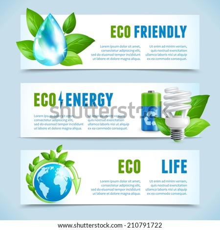 Ecology and green energy eco friendly life concept horizontal banners isolated vector illustration - stock vector