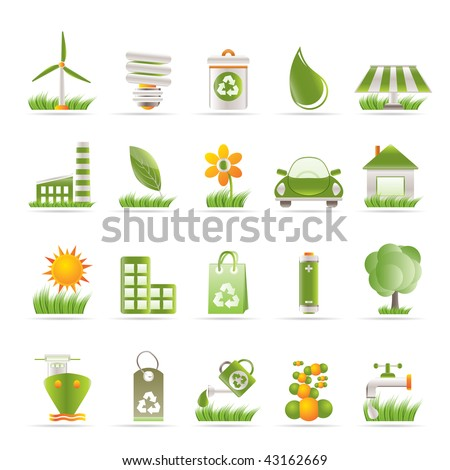 Ecology and nature icons - vector icon set - stock vector