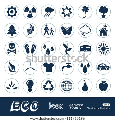 Ecology and nature web icons set. Hand drawn sketch illustration isolated on white background - stock vector