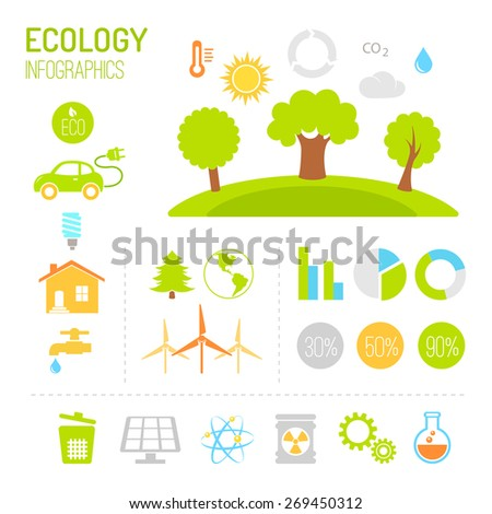Ecology and organic infographics in flat style - stock vector