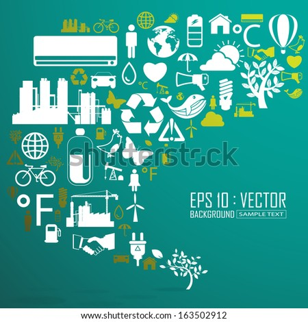 Ecology and recycle icons, backgrounds - stock vector