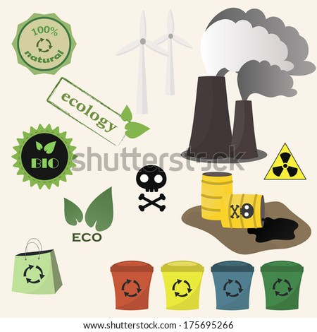 Ecology and toxic icon vector set - stock vector