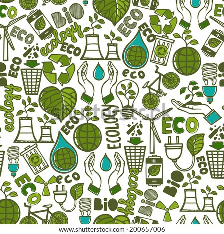 Ecology and waste global conservation colored seamless pattern vector illustration - stock vector