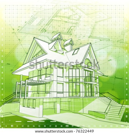 Ecology architecture design: house, plans & green bokeh background - vector illustration. Eps 10 - stock vector
