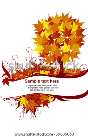 Ecology autumn tree with text