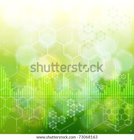 ecology background: chemical formulas, digital wave & green bokeh abstract light - stock vector