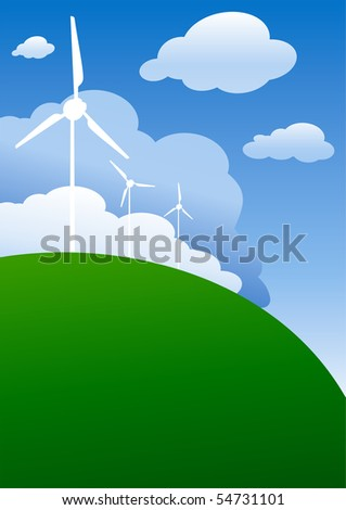 Ecology background with turbine and clouds