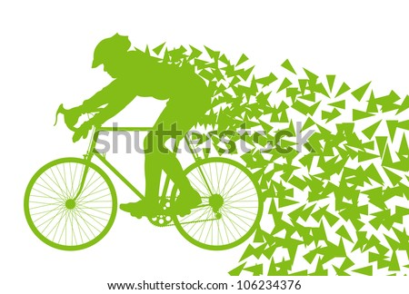 Ecology bike driving vector background concept - stock vector