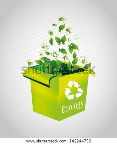 ecology box over gray background vector illustration - stock vector
