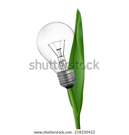 Ecology bulb light. Glass on light bulb transparent. - stock vector