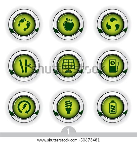 Ecology button series 1 - stock vector