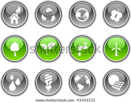 Ecology  button set. Vector illustration.
